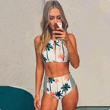 ONETOW Fashion Stripe Palm Tree Print Small Vest High Waist Bikini Set Swimsuit Swimwear