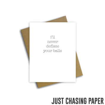 never deflate your balls card // Funny Greeting Card, Anniversary, Boyfriend Card, Blank Inside Card / PRINTABLE / Digital Download