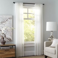 Crushed Voile Ivory Curtain