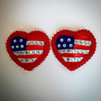 Stars and Stripes Nipple Pasties Burlesque Rhinestone American Flag Red Heart
