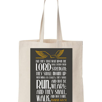 Isaiah 40:51 Scripture On Canvas Tote Bag - Scripture, Bible print, God print, Christian print, Bible, Natural Canvas tote