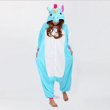 DCCKFV3 2017 Halloween Autumn and Winter Pajama Sets Cartoon Sleepwear Women Pajama Flannel Animal Stitch Panda Unicorn Tigger Pajama