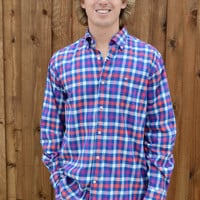 Southern Tide Blue Chip Check Sport Shirt- Fire