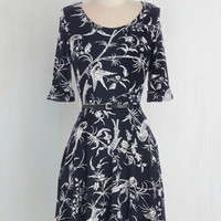 Mid-length Short Sleeves A-line Bird to the Wise Dress