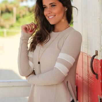 Taupe Long Sleeve Knit Top