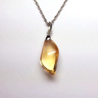 Genuine Citrine Necklace - Yellow Citrine Necklace, Sterling Citrine Necklace, Natural Citrine Crystal, Citrine Jewelry, Gold Citrine