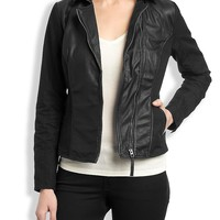 Lucky Brand Leather Mixed Jacket Womens