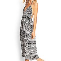 FOREVER 21 Paisley Halter Midi Dress Black/Cream