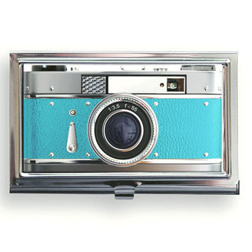 Business Card Case Vintage Style  Blue Camera Metal Case Fits Business, Credit, Debit and Gift Cards Aqua Teal Blue