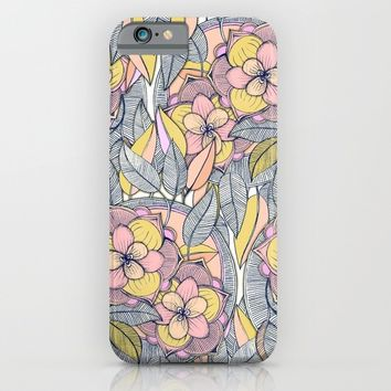Pink and Peach Linework Floral Pattern iPhone & iPod Case by Micklyn