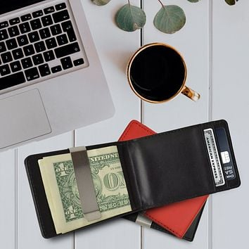 AFONiE - Minimalist Leather Money Clip Wallets