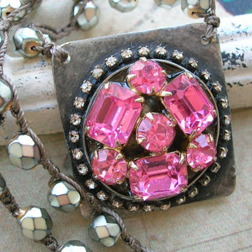 Pink rhinestone crochet necklace - Pink Lady - spring jewelry statement necklace vintage upcycled jewelry eco friendly boho jewelry