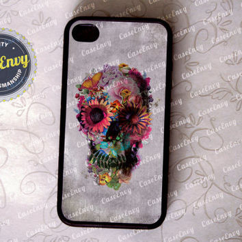 Grunge Style Floral Skull iPhone 4 / 4s case by CaseEnvy on Etsy