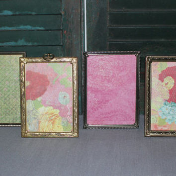 Vintage gold 5x7 metal picture frames (Set of 4) - Antique picture frames, gold decor, wedding frames, table numbers