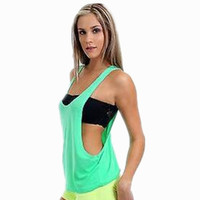 WOMEN'S SEXY DRAPE TANK TOP WITH OPEN SIDES NEON COLORS PLAIN SHIRT COTTON