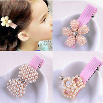 Fashion Cute Pearl  Girls Hairpin Hair Duckbill Kid Head Clip HU