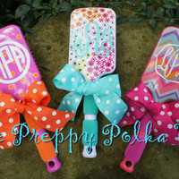Monogram Personalized Paddle Hair Brush - FLORAL- Last One