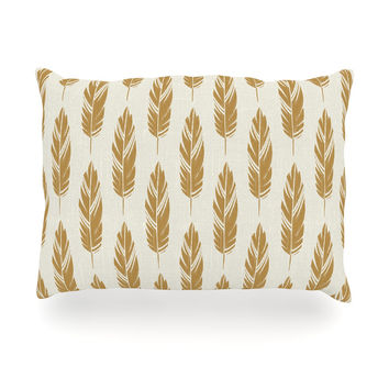 "Amanda Lane ""Feathers Yellow Cream"" Mustard Pattern Oblong Pillow"