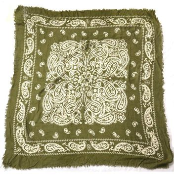 100*100cm  High Quality 100% Cotton Spring Autumn Amy Green Paisley Square Scarvse Shawl Lady Bandanas Wrap For Promotions