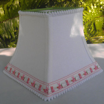 Easter Bunny White Linen Lampshade Bell Square Frame Pom Pom and Pink Bunny Jacquard Trim Green Grosgrain Ribbon Torpedo Candle Clip Top