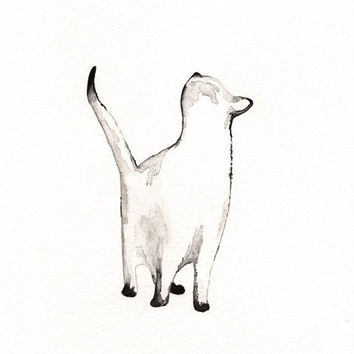 I look to You / watercolor print / grey / Cat / Minimal black and white / Archival