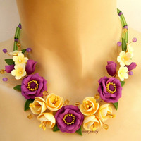 Floral necklace - Spring jewelry - Anemone - Violet jewelry - Handmade polymer necklace