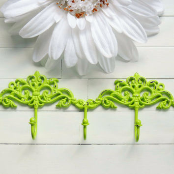 Lime Green Distressed Chic Wall Hook / French Country Wall Hook / Traditional Decor / Hook / Key Hanger / Coat Hook / Organize / Ornate