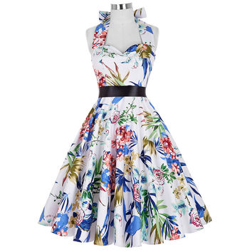 Floral tea dresses summer style women Vintage rocabilly party sleeveless cotton prin casual pin up swing dress 2016 Grace Karin
