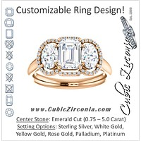 Cubic Zirconia Engagement Ring- The Carissa (Customizable Emerald Cut 3-stone Halo Style with Oval Accents)