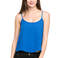 Spaghetti Strap Scoop Neck Cropped Camisole Shirt Loose Tank Top