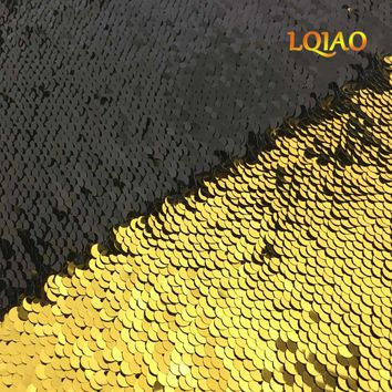 High Quality 125*45cm Gold-Black Reversible Mermaid Fish Scale Sequin Fabric Sparkly Paillette fabric For Dress/Bikini/Cushion