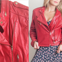 80s Red Leather Motorcycle Jacket | Womens XS Small Moto Jacket Fitted 100% Leather Biker Flight Jacket | Boho Rocker Punk 90s Grunge 1980s