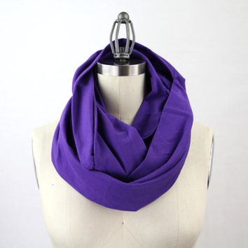 purple infinity scarf, jersey scarf, chunky purple jersey solid infinity scarf, doubled jersey fabric, solid purple