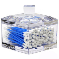 Modern Faceted Square Acrylic Cotton Ball Holder