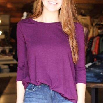 {Plum} Best Basic 3/4 Sleeve Round Neck Top - Size SMALL