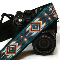 Native American Camera Strap (inspired). DSLR Camera Strap. Dark Teal Camera Strap. Camera Accessories