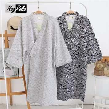 New Simple Japanese kimono robes men spring long sleeved 100% cotton bathrobe fashion casual waves dressing gown for men
