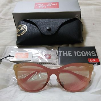 New Rayban Blaze Cat Eye RB3580N Sunglasses Gold Frame Pink Mirror Lens