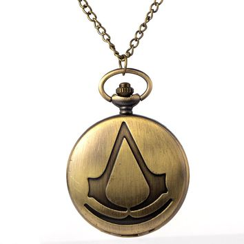 Cindiry New Bronze Assassin's Creed Sci-Fi Movie Quartz Pocket Watch Analog Pendant Necklace Mens Womens Watches Chain Gift P19