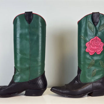 Size 7.5 Vintage Western Boots Green Black Leather Pink Rose Flower Nine West, Colored Cowboy Boots Women's, Floral Country Western Boots