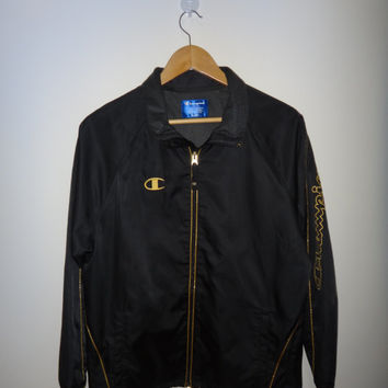 Vintage CHAMPION Athletic Apparel Sports Jacket Vtg Champion Gold 90s Champion Windbreaker Black Jacket Gold Lining Windbreaker Small Unisex