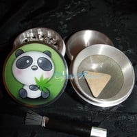 Panda Bear Weed Leaf 4 Piece Herb Grinder Pollen Screen and Catcher