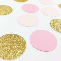 "150 Light Pink / Medium Pink / Gold Glitter Confetti - 1 Inch - 1"" - Confetti for weddings, birthdays, parties and more!"