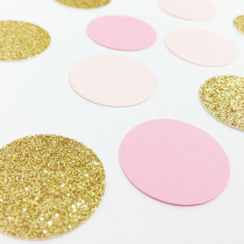"""150 Light Pink / Medium Pink / Gold Glitter Confetti - 1 Inch - 1"""" - Confetti for weddings, birthdays, parties and more!"""