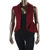 Style & Co. Womens Petites Cable Knit Open Front Cardigan Sweater