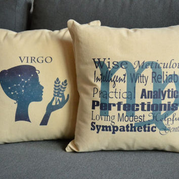 Set of 2 Virgo Zodiac Sign Pillows- Cotton Covers and or Cushions - 14x14, 16x16, 18x18, 20x20