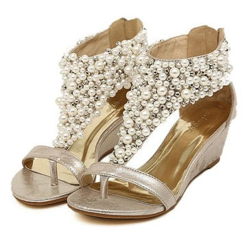 2014 handmade pearl wedding shoes,pearl  rhinestone sandals, flat shoes,bridal shoes,wedges shoes