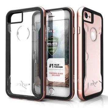 iPhone 7 Case, Zizo [Shock Series] w/ [iPhone 7 Screen Protector] Crystal Clear [Military Grade Drop Tested] Aluminum Metal Bumper