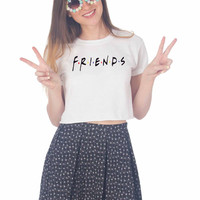 Friends American 90s TV Series Jennifer Aniston Logo For Womens Crop Shirt **
