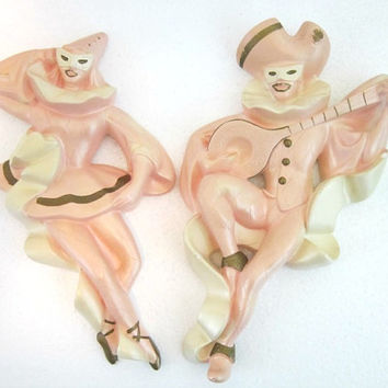 Chalkware Plaque Masquerade Harlequin Dancers 1960Millerstudio pink ivory copper wall plaques wall decor vintage